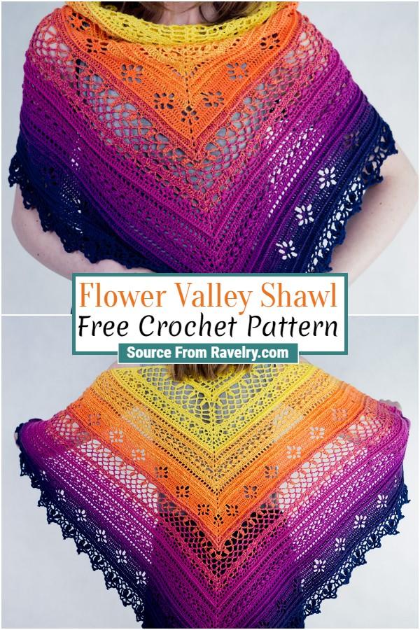 Free Crochet Flower Valley Shawl
