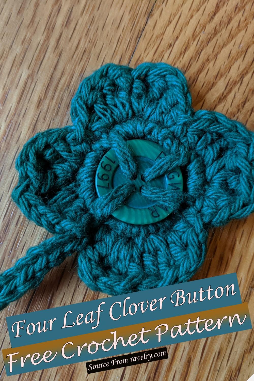 Free Crochet Four Leaf Clover Button Pattern
