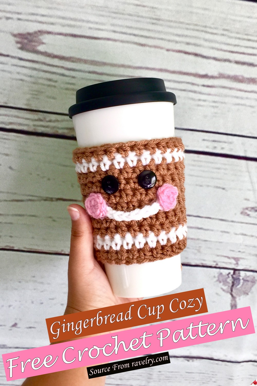 Free Crochet Gingerbread Cup Cozy Pattern