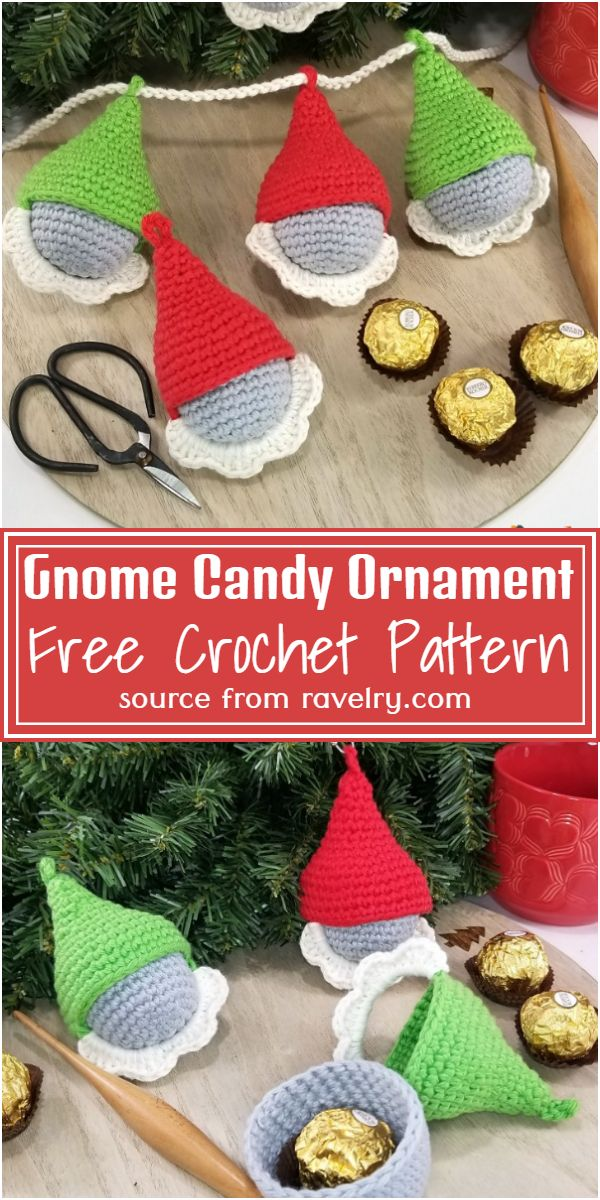 Free Crochet Gnome Candy Ornaments Pattern
