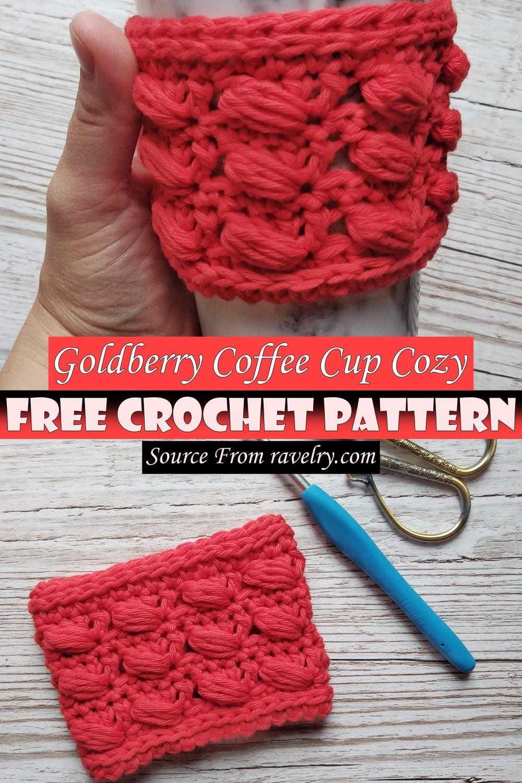 Free Crochet Goldberry Coffee Cup Cozy Pattern