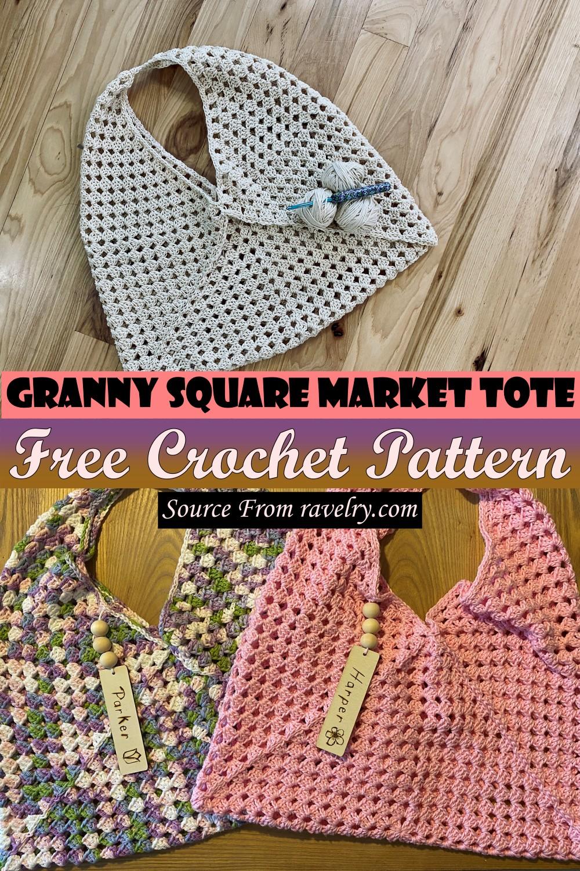 Free Crochet Granny Square Market Tote Pattern