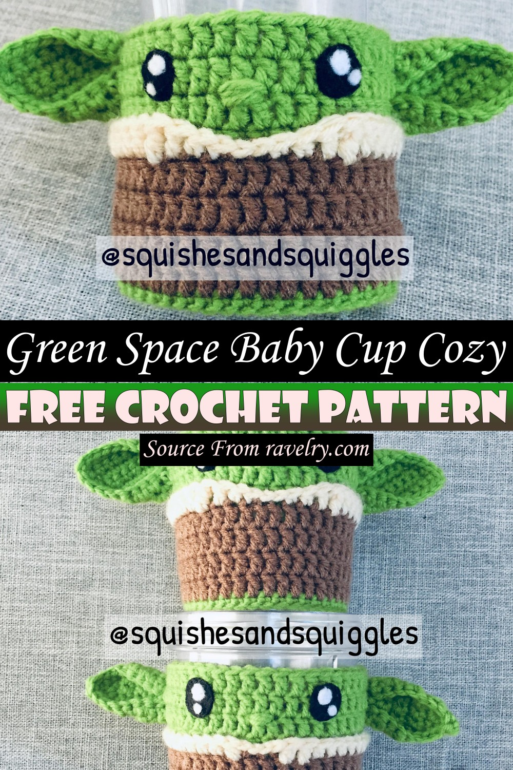 Free Crochet Green Space Baby Cup Cozy Pattern