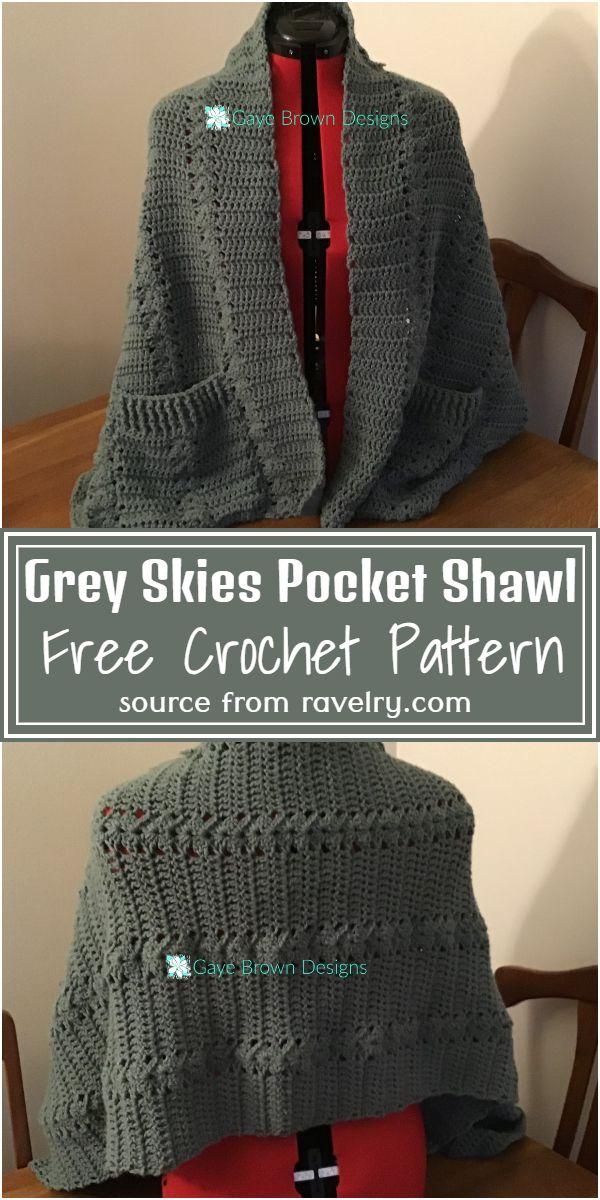 Free Crochet Grey Skies Pocket Shawl Pattern