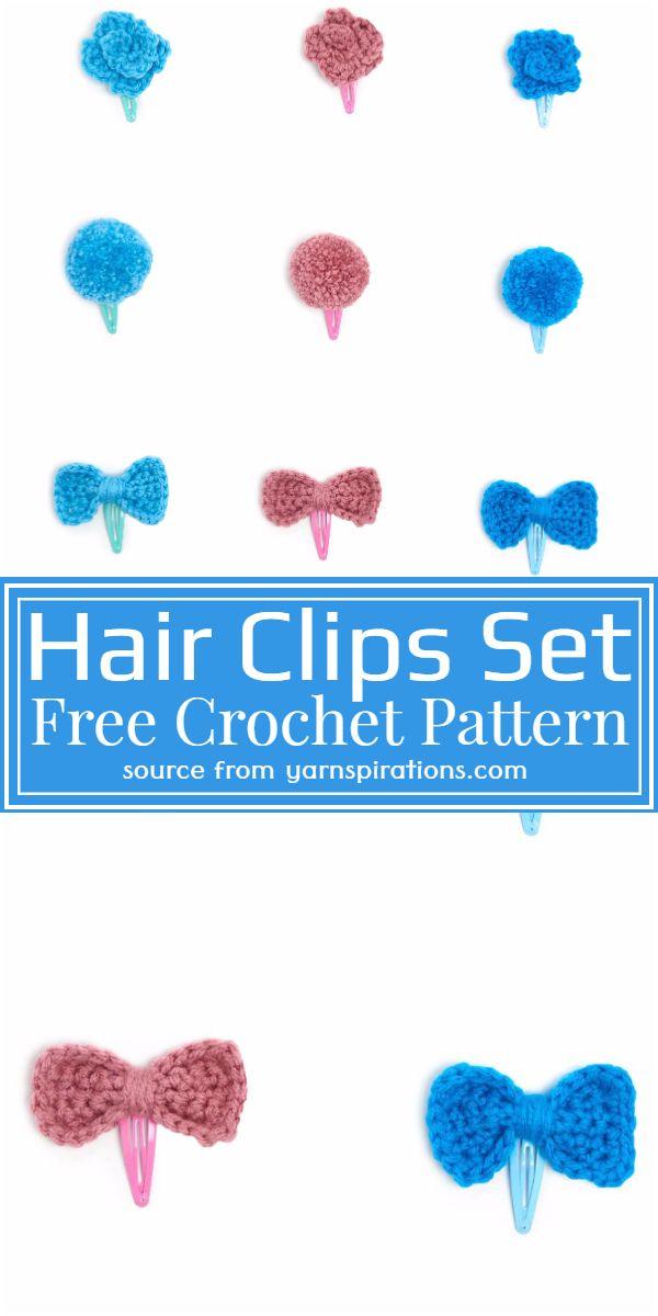 Free Crochet Hair Clips Set Pattern