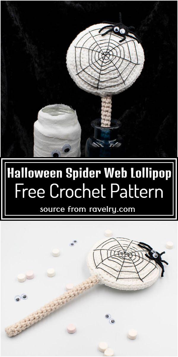 Free Crochet Halloween Spider Web Lollipop Pattern