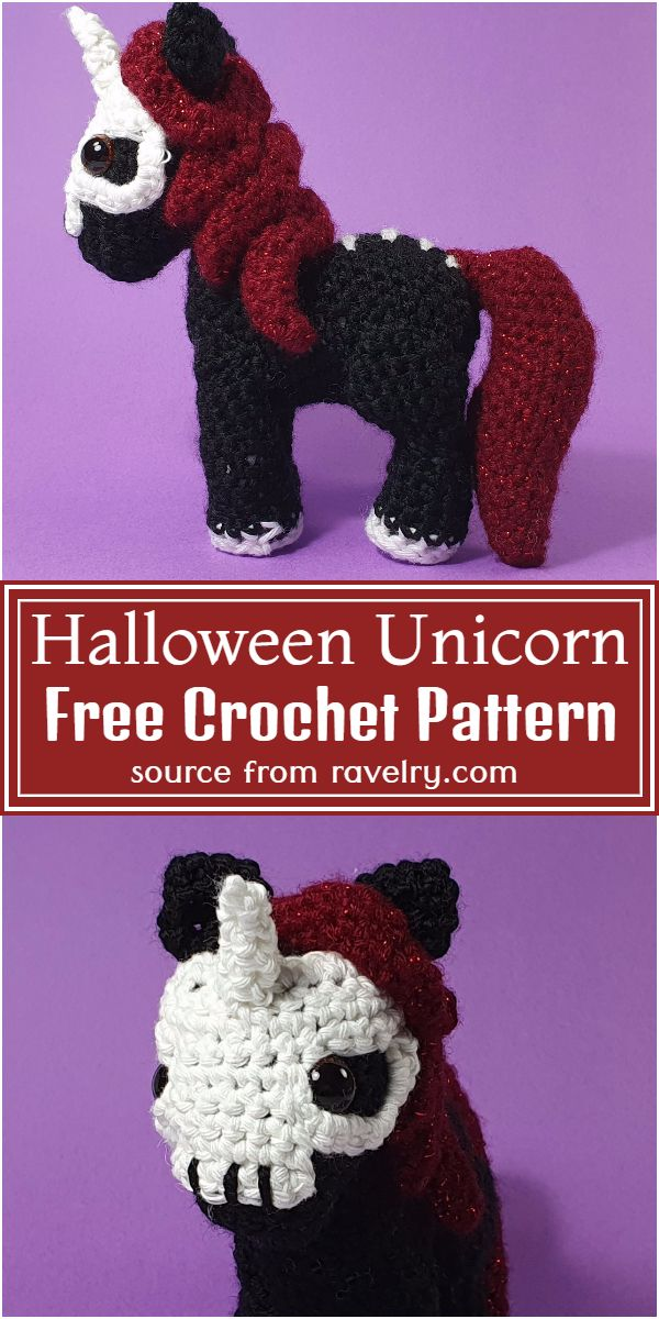 Free Crochet Halloween Unicorn Pattern