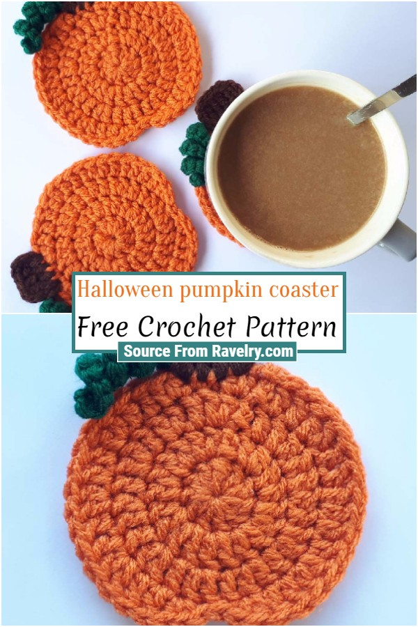 Free Crochet Halloween pumpkin coaster