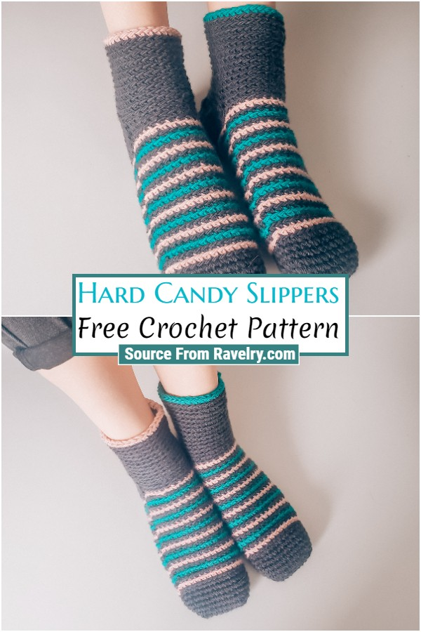 Free Crochet Hard Candy Slippers