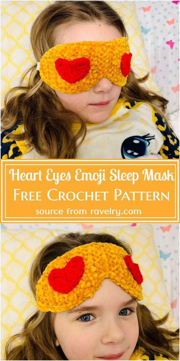 Free Crochet Heart Eyes Emoji Sleep Mask Pattern