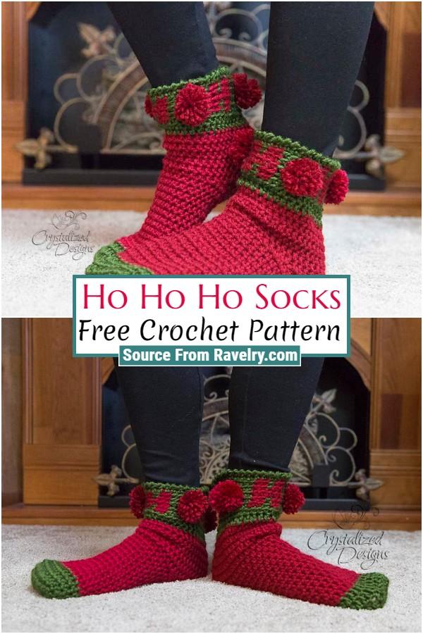 Free Crochet Ho Ho Ho Socks