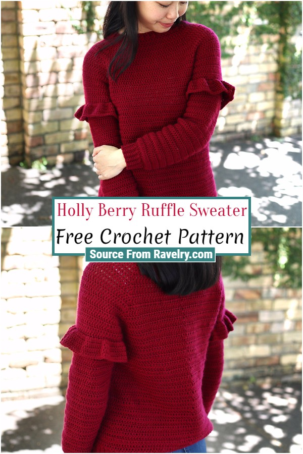 Free Crochet Holly Berry Ruffle Sweater
