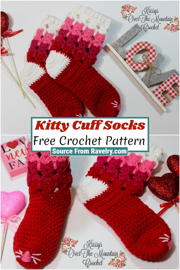 Free Crochet Kitty Cuff Socks