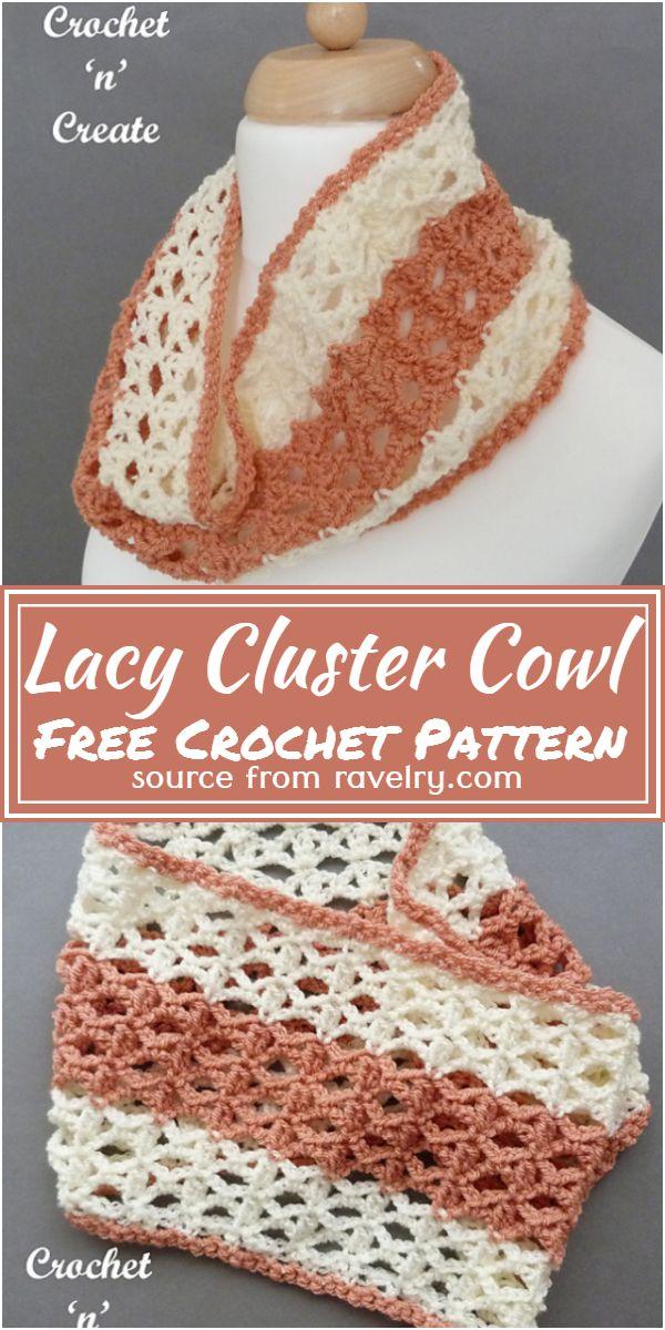 Free Crochet Lacy Cluster Cowl Pattern