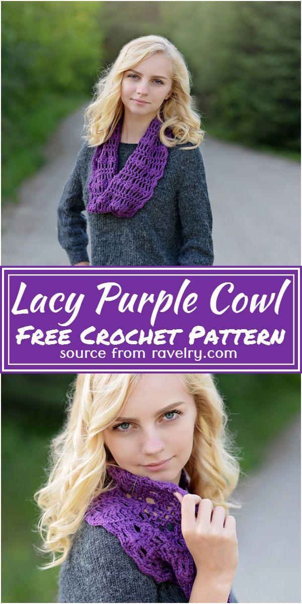 Free Crochet Lacy Purple Cowl Pattern
