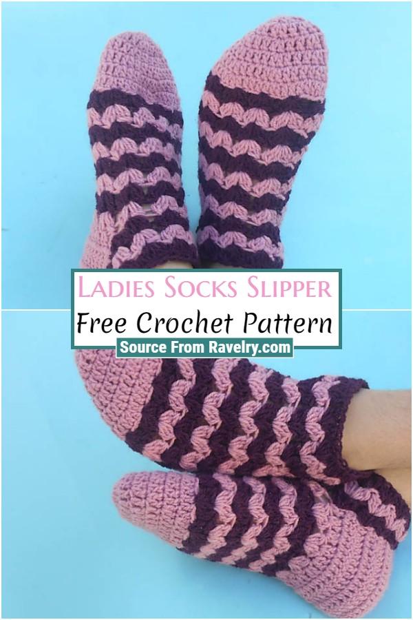 Free Crochet Ladies Socks Slipper