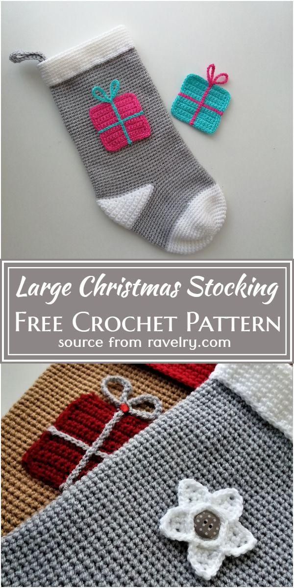 Free Crochet Large Christmas Stocking Pattern