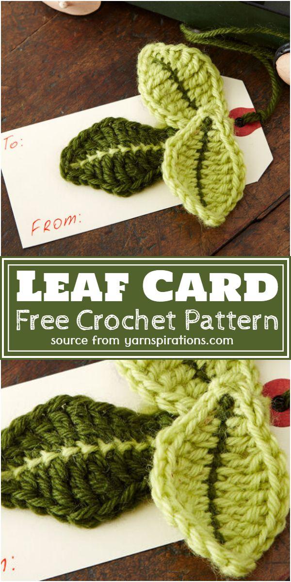 Free Crochet Leaf Card Pattern