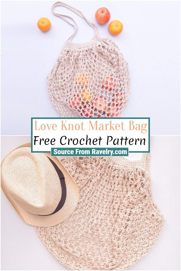 Free Crochet Love Knot Market Bag