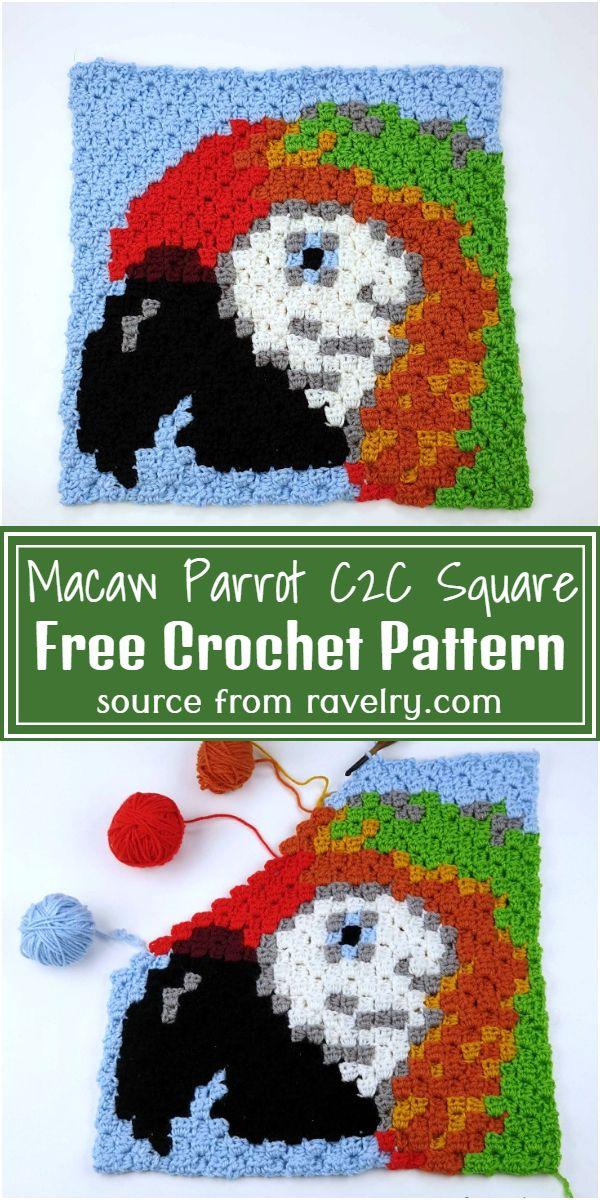 Free Crochet Macaw Parrot C2C Square Pattern