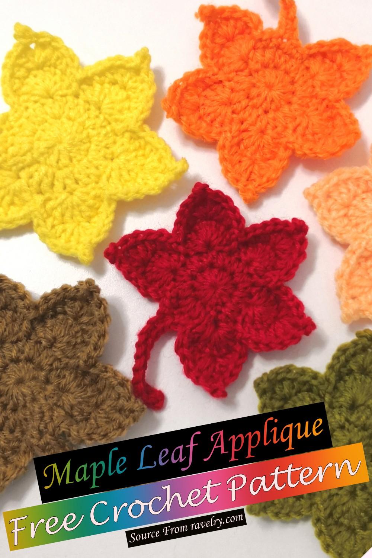 Free Crochet Maple Leaf Applique Pattern