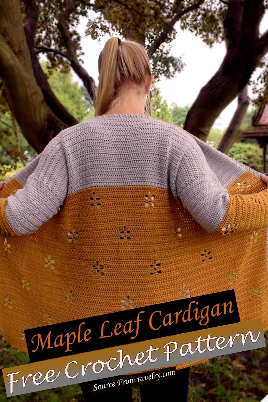 Free Crochet Maple Leaf Cardigan Pattern