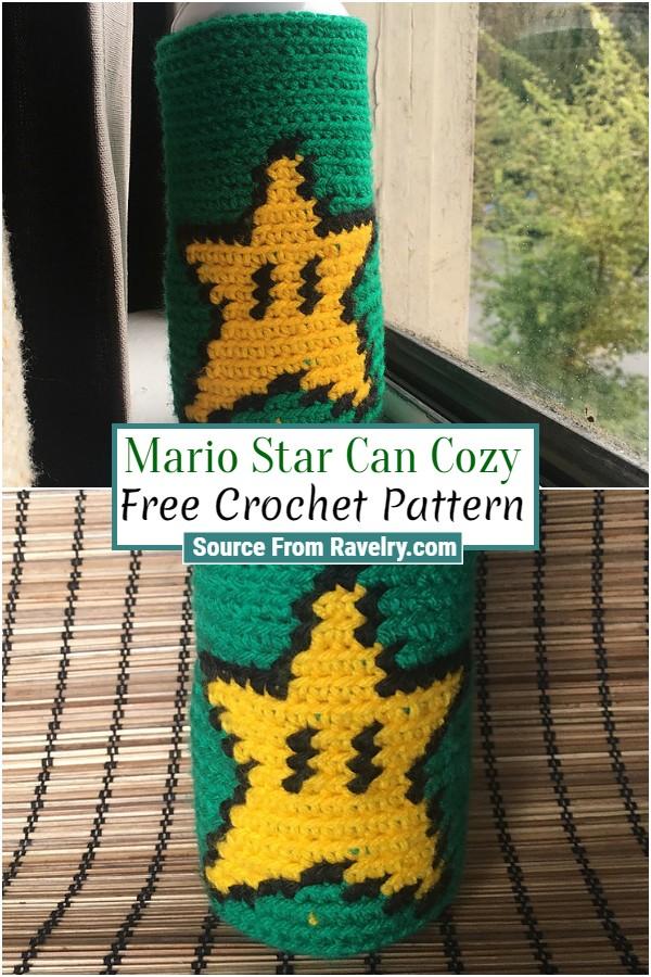 Free Crochet Mario Star Can Cozy