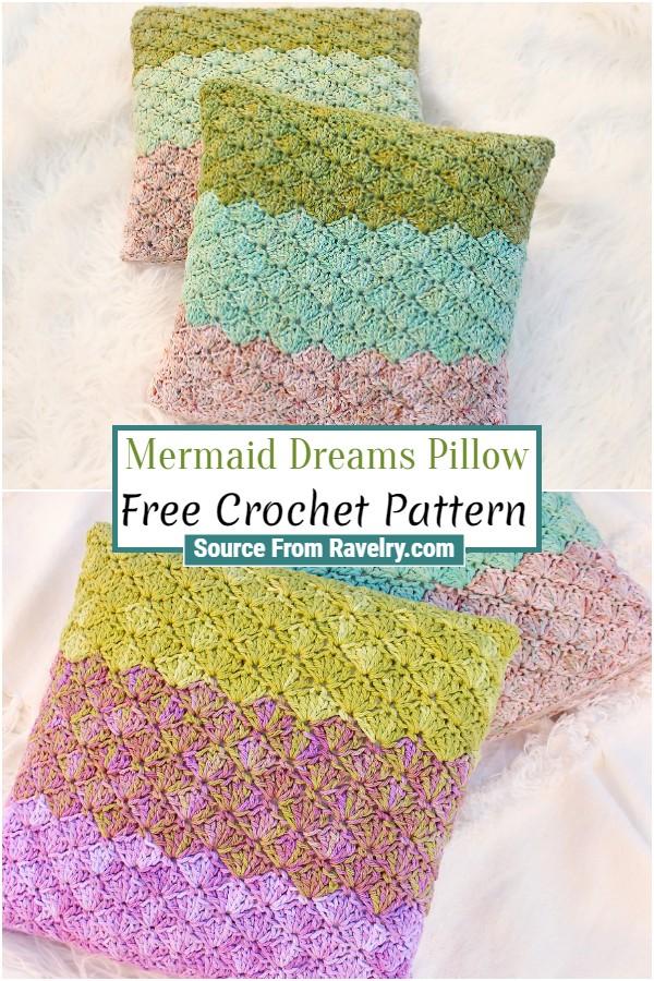 Free Crochet Mermaid Dreams Pillow