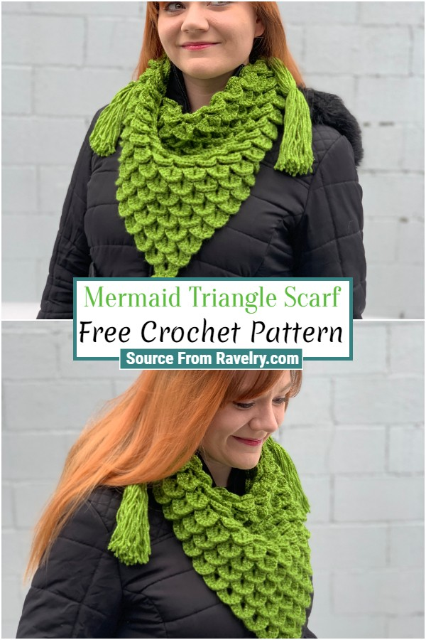 Free Crochet Mermaid Triangle Scarf