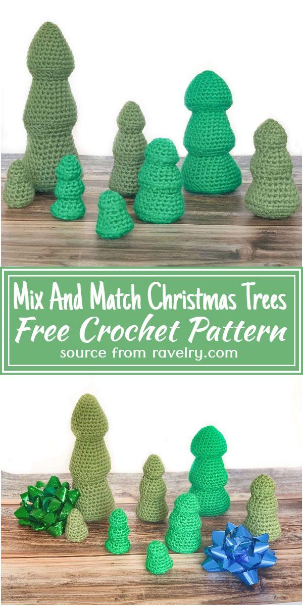 Free Crochet Mix And Match Christmas Trees Pattern