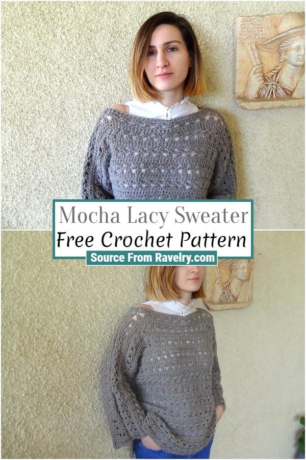Free Crochet Mocha Lacy Sweater