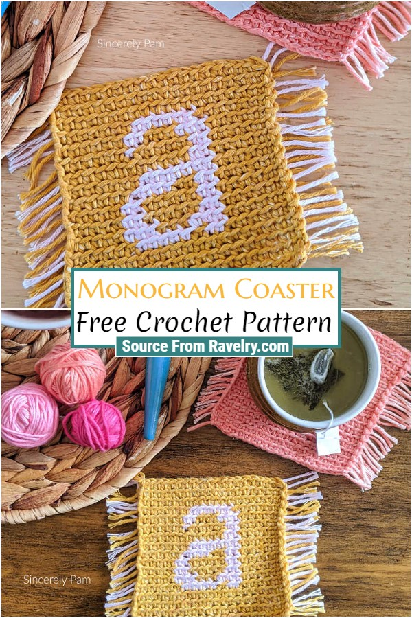 Free Crochet Monogram Coaster