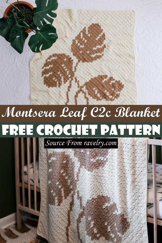 Free Crochet Montsera Leaf C2c Blanket Pattern
