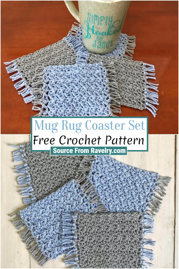 Free Crochet Mug Rug Coaster Set