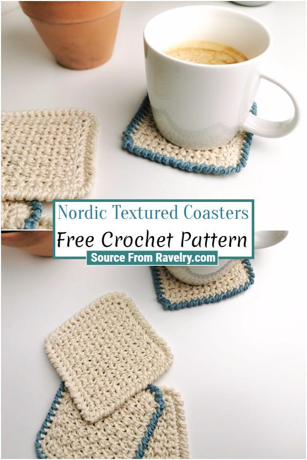 Free Crochet Nordic Textured Coasters
