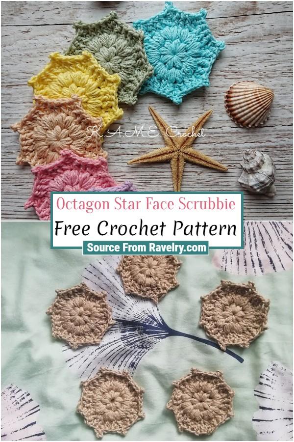 Free Crochet Octagon Star Face Scrubbie