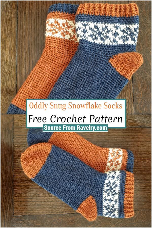 Free Crochet Oddly Snug Snowflake Socks
