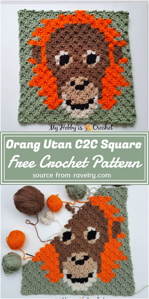 Free Crochet Orang Utan C2C Square Pattern