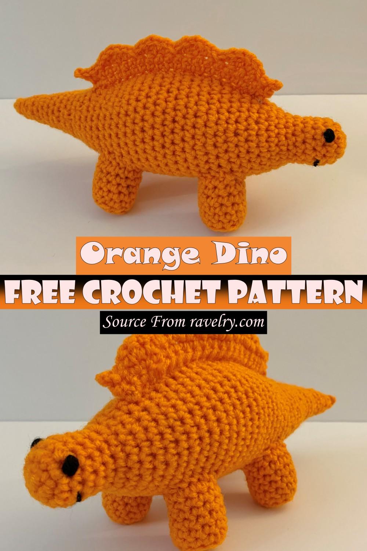 Free Crochet Orange Dino Pattern