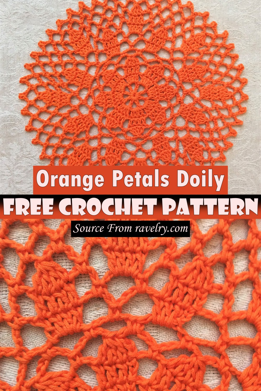 Free Crochet Orange Petals Doily Pattern