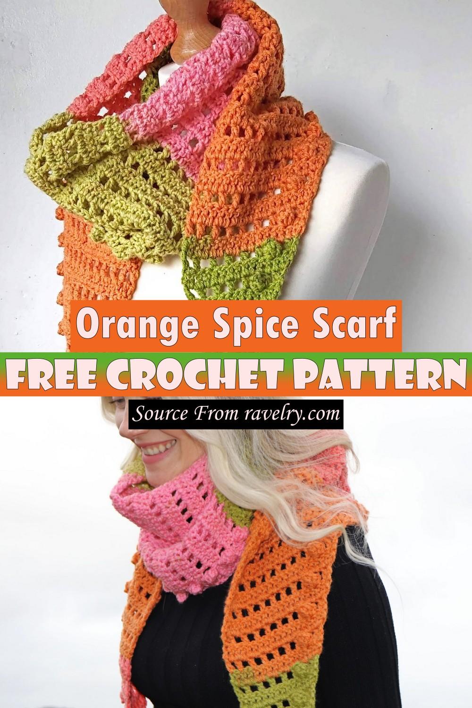 Free Crochet Orange Spice Scarf Pattern