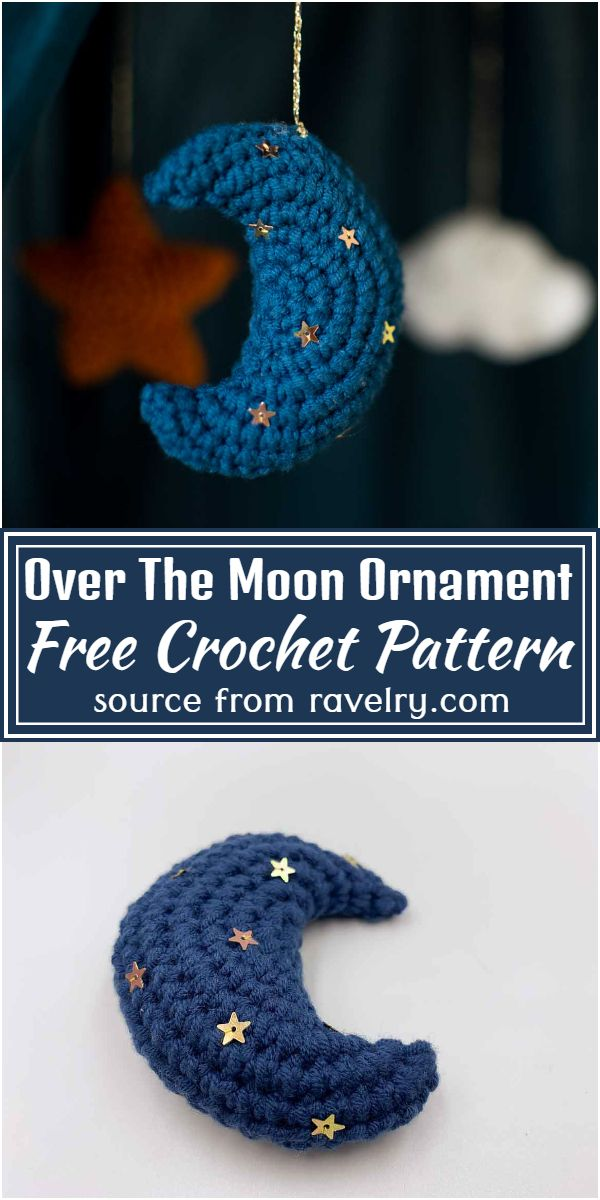 Free Crochet Over The Moon Ornament Pattern