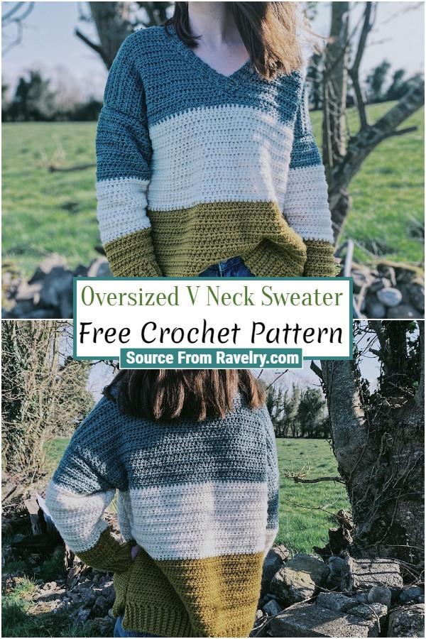 Free Crochet Oversized V Neck Sweater