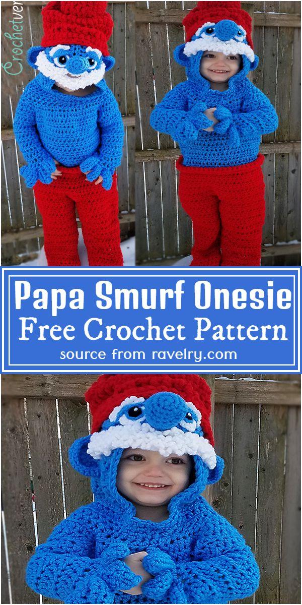 Free Crochet Papa Smurf Onesie Pattern