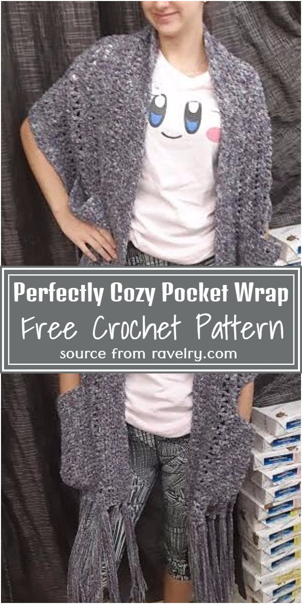 Free Crochet Perfectly Cozy Pocket Wrap Pattern