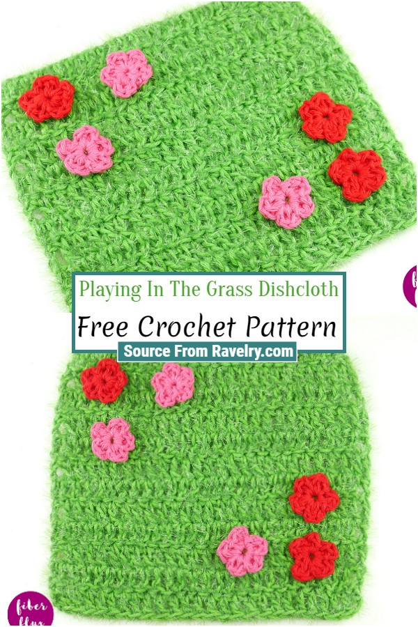 Free Crochet Playing In The Grass Dishcloth