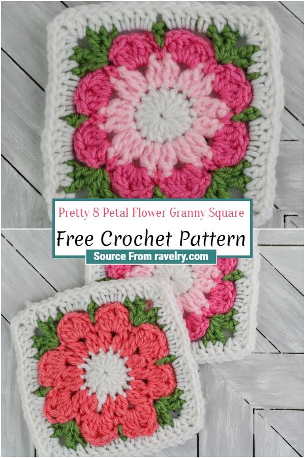Free Crochet Pretty 8 Petal Flower Granny Square