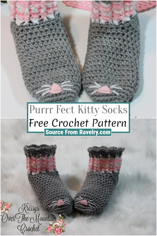 Free Crochet Purrr Fect Kitty Socks