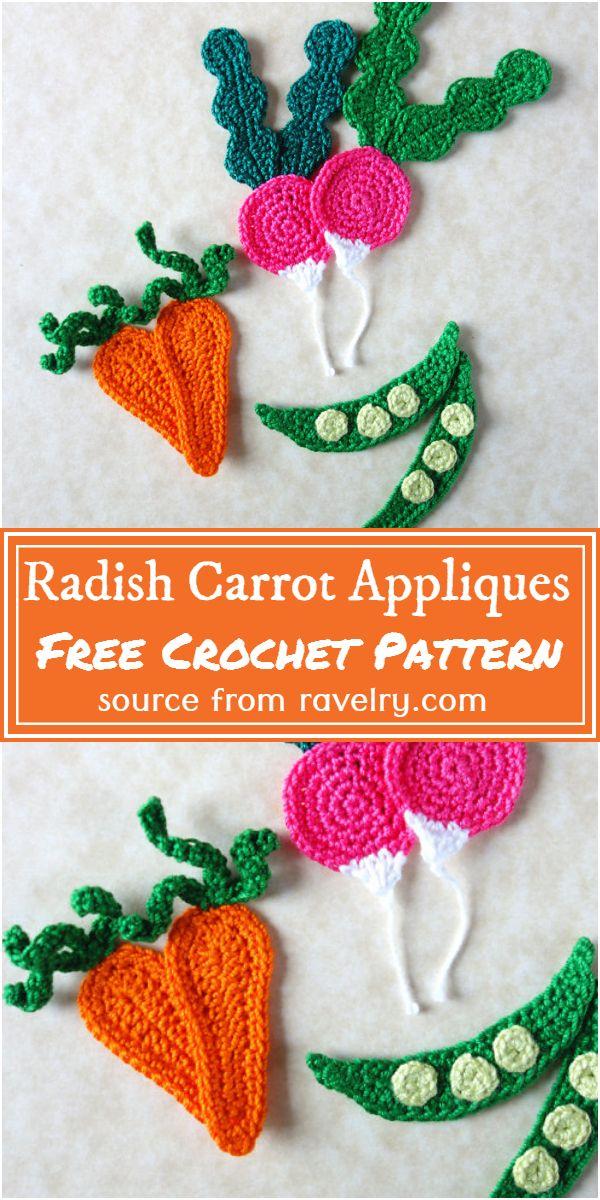 Free Crochet Radish Carrot Appliques Pattern