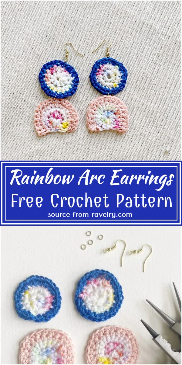 Free Crochet Rainbow Arc Earrings Pattern
